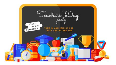 Teacher's Day Party Invitation Stationery in Classroom Full HD videoデザインテンプレート