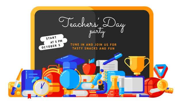 Ontwerpsjabloon van Full HD video van Teacher's Day Party Invitation Stationery in Classroom