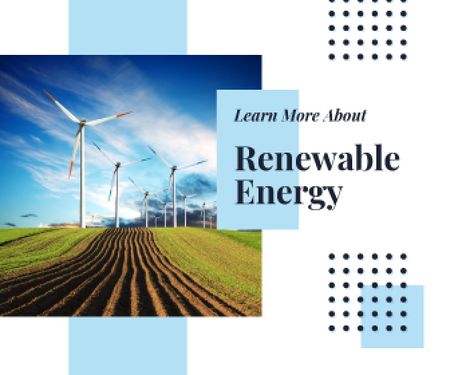 Plantilla de diseño de Renewable Energy Wind Turbines Farm Large Rectangle