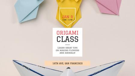 Plantilla de diseño de Origami Classes Invitation Paper Garland FB event cover