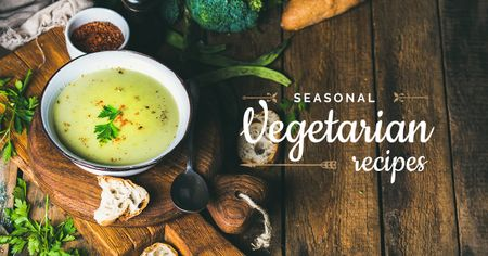 Modèle de visuel Seasonal vegetarian recipes with Veggie Dishes - Facebook AD