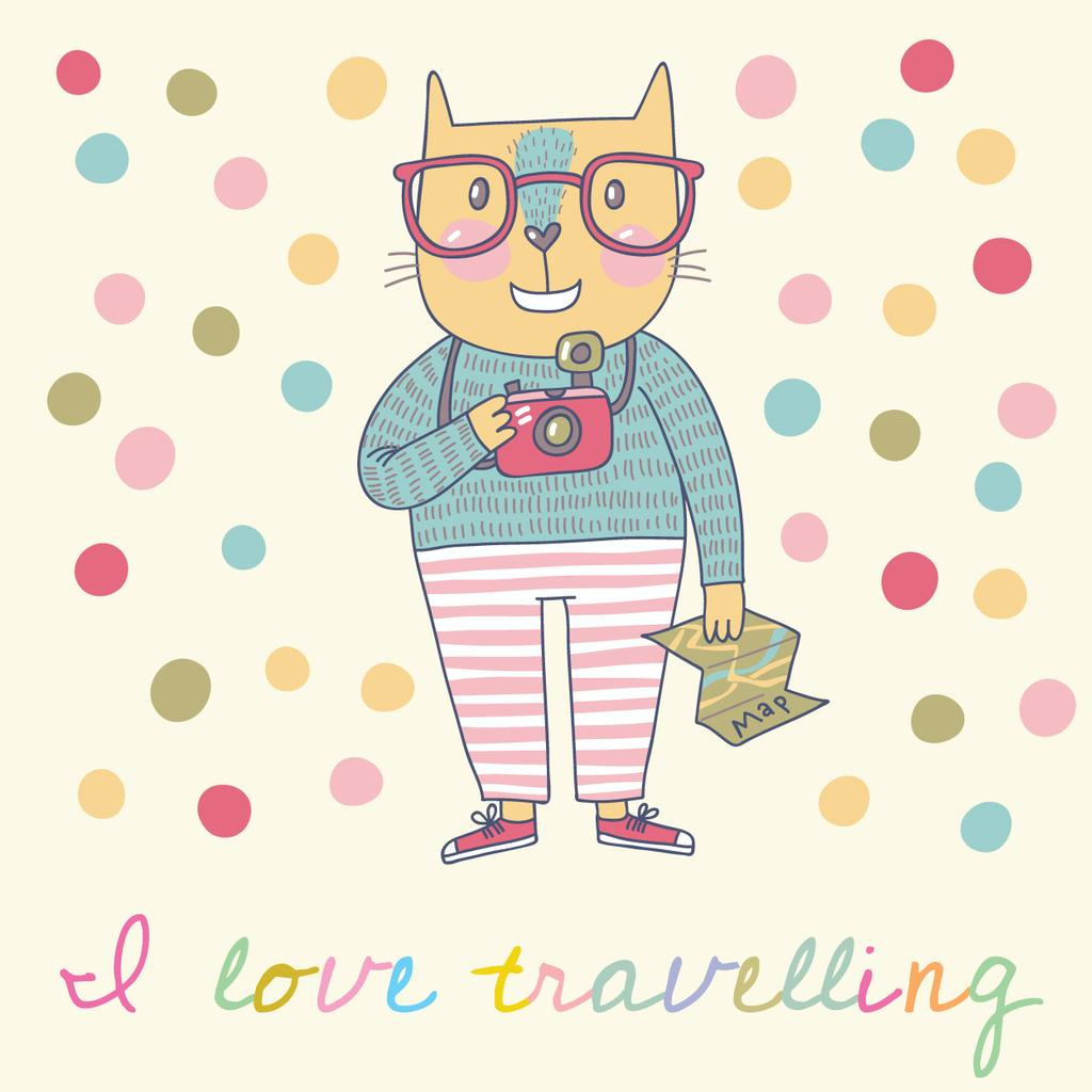 Motivational Travelling Quote with Cute Cat — Modelo de projeto