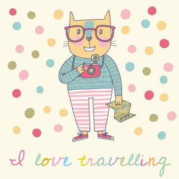 Motivational Travelling Quote with Cute Cat