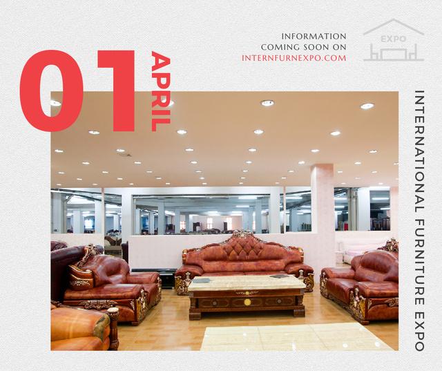 Furniture Expo invitation with modern Interior Facebook Tasarım Şablonu