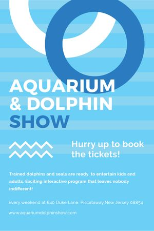 Aquarium Dolphin show invitation in blue Tumblr Tasarım Şablonu