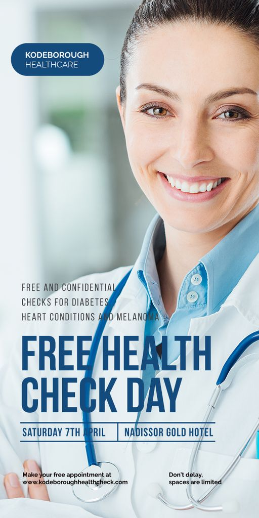 free health check day poster with smiling female doctor —デザインを作成する