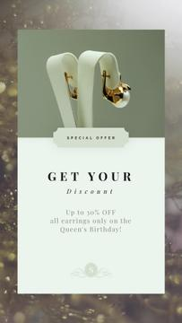 Jewelry Discount Golden Earrings with Pearls | Vertical Video Template