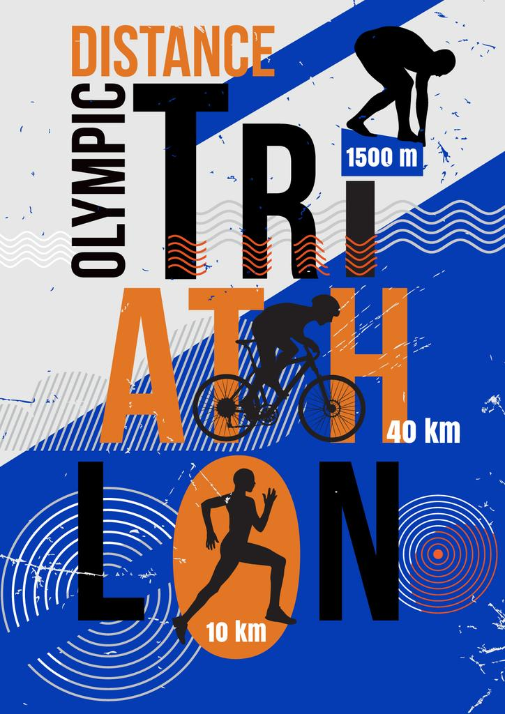 Triathlon Tournament Announcement with Athletes Silhouettes — ein Design erstellen