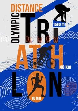 Triathlon Tournament Announcement Athletes Silhouettes | Poster Template
