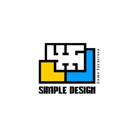 Design Studio with Geometric Lines Icon Animated Logoデザインテンプレート