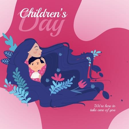 Child with loving mother on Children's Day Animated Post Tasarım Şablonu
