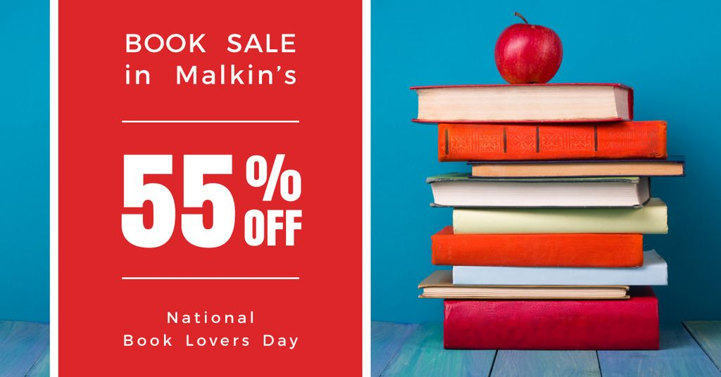 sale discount to national book lovers day poster — Crea un design