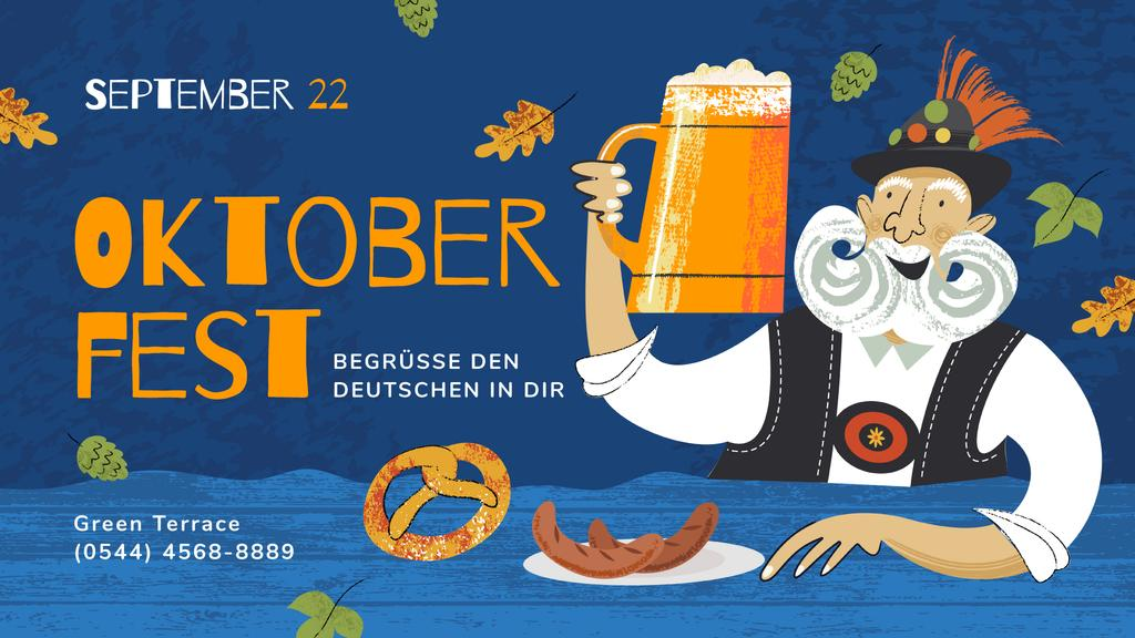 Oktoberfest Offer Man with Beer Mug and Snacks — ein Design erstellen