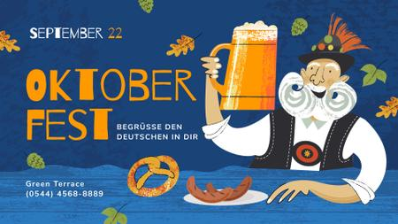 Ontwerpsjabloon van FB event cover van Oktoberfest Offer Man with Beer Mug and Snacks