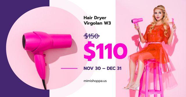 Beauty Equipment Promotion Woman with Hair Dryer Facebook AD – шаблон для дизайну