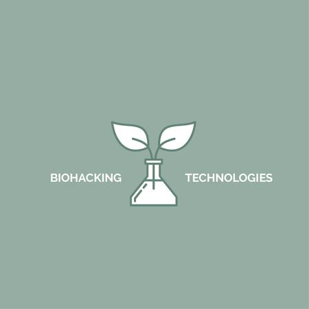 Plantilla de diseño de Bio Technologies with Plant in Flask Logo