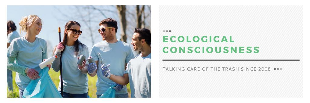 Ecological Event Volunteers Collecting Garbage | Twitter Header Template — Create a Design