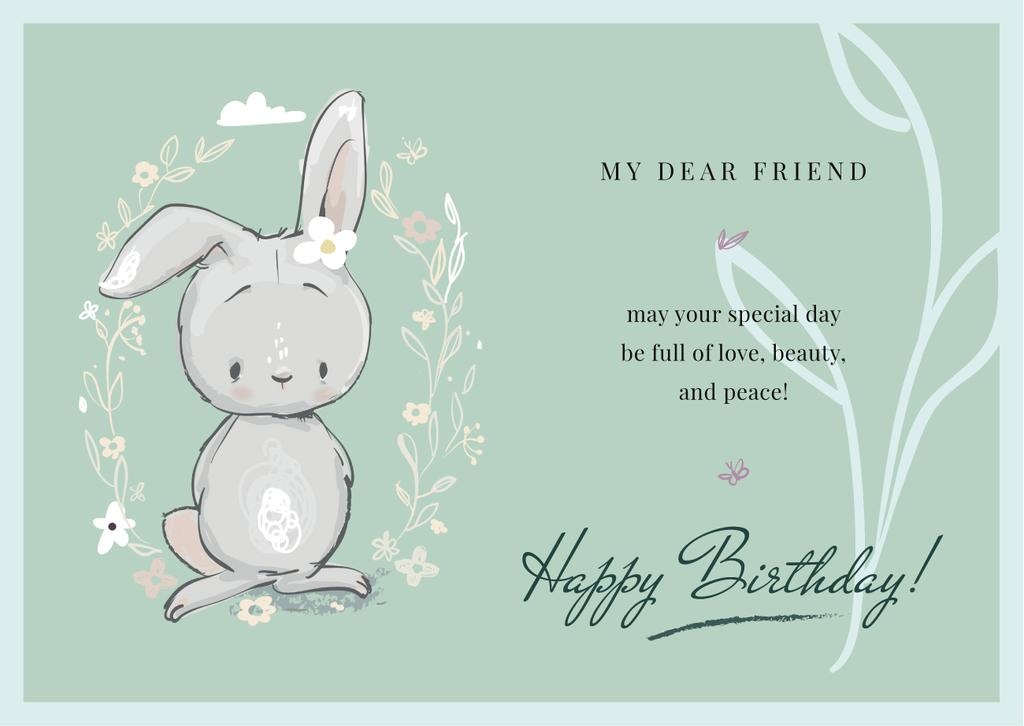Birthday Greeting Cute Bunny in Flowers — Maak een ontwerp