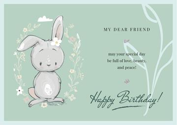 Birthday Greeting Cute Bunny in Flowers | Card Template