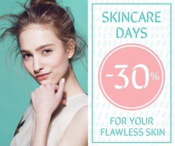 Skincare Products Sale Girl with Glowing Skin | Medium Rectangle Template