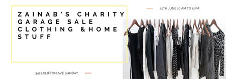 Charity Sale announcement Black Clothes on Hangers Tumblrデザインテンプレート