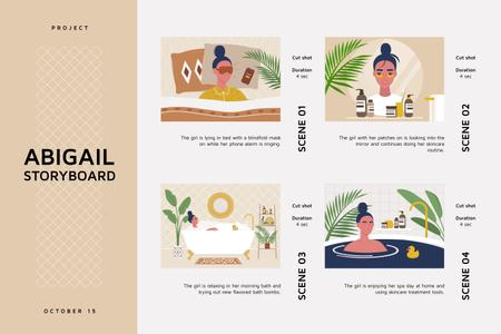 Morning Beauty routine Storyboard Modelo de Design