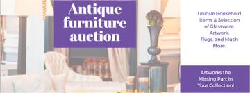 Antique Furniture Auction Vintage Wooden Pieces | Facebook Cover Template