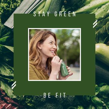 Girl drinking green smoothie