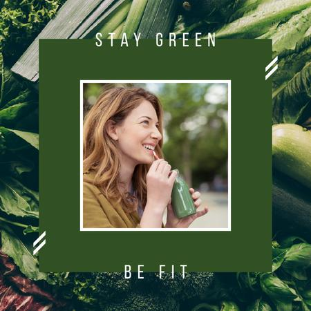 Plantilla de diseño de Girl drinking green smoothie Instagram