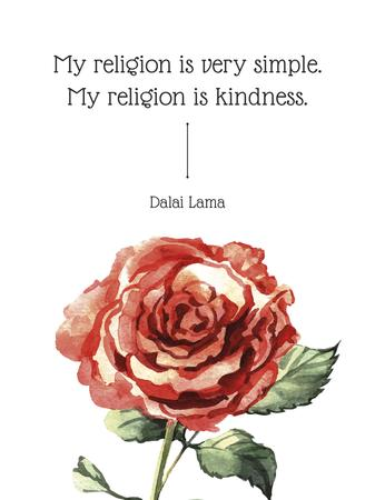 Modèle de visuel Religion Inspirational quote with rose - Poster US