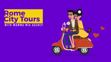 Template di design Happy Couple Riding Scooter on Purple Full HD video