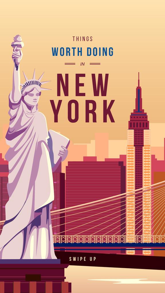 New York city with Liberty Statue — Modelo de projeto