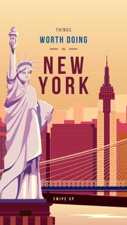 Ontwerpsjabloon van Instagram Story van New York city with Liberty Statue