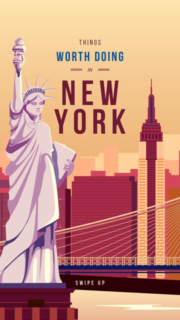 Designvorlage New York city with Liberty Statue für Instagram Story