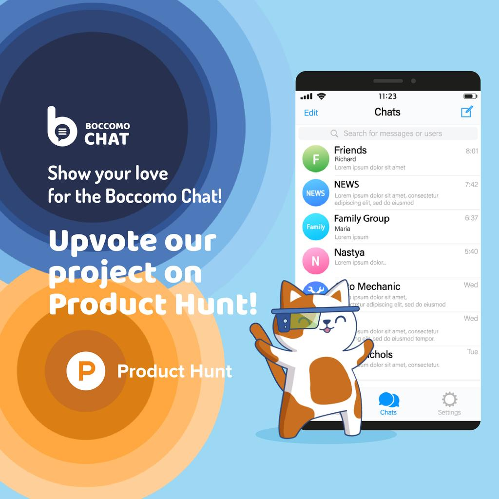 Product Hunt Campaign Chats Page on Screen | Square Video Template — Створити дизайн