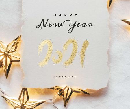 Plantilla de diseño de New Year greeting with golden Stars Facebook