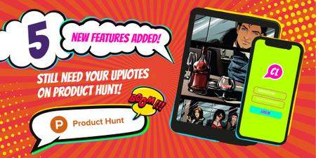Plantilla de diseño de Product Hunt Campaign with App Interface on Screen Twitter