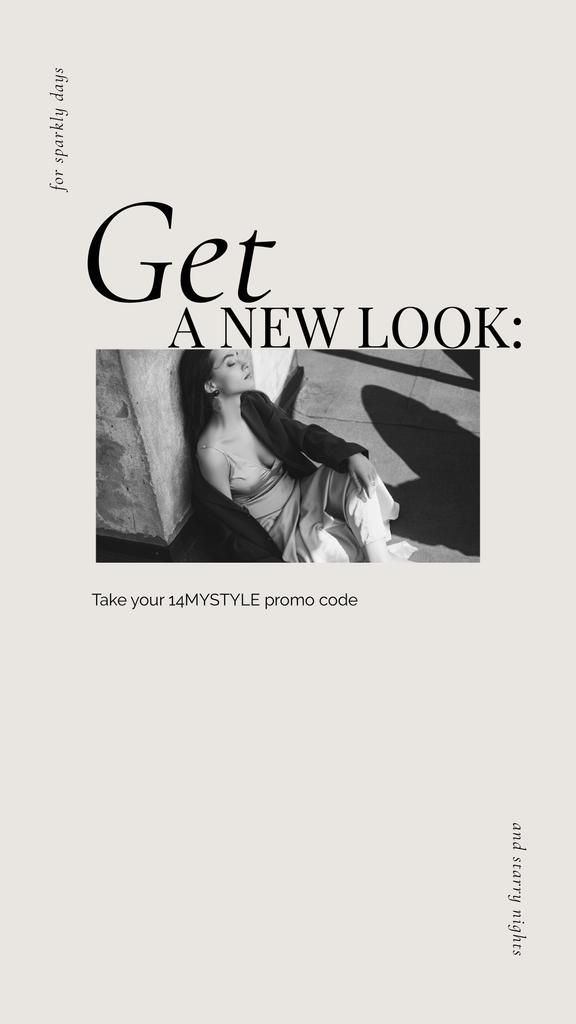 New Look Special Offer with Woman posing on rooftop — Crear un diseño