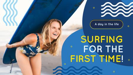 Ontwerpsjabloon van Youtube Thumbnail van Surfing School Woman with Board in Blue