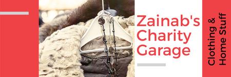 Plantilla de diseño de Charity Sale Announcement Clothes on Hangers Twitter