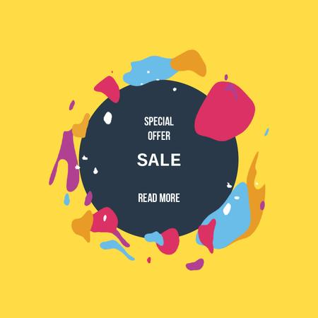 Sale Offer with Moving blots with circle frame Animated Post – шаблон для дизайну