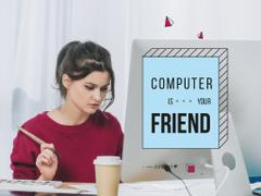 Citation about Computer with Businesswoman