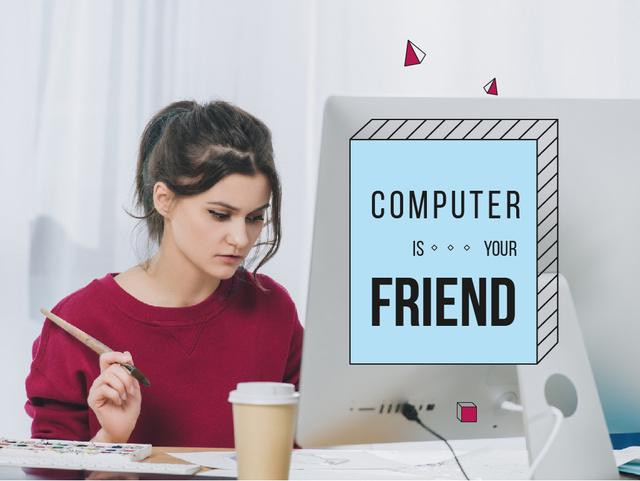 Citation about Computer with Businesswoman Presentation – шаблон для дизайна