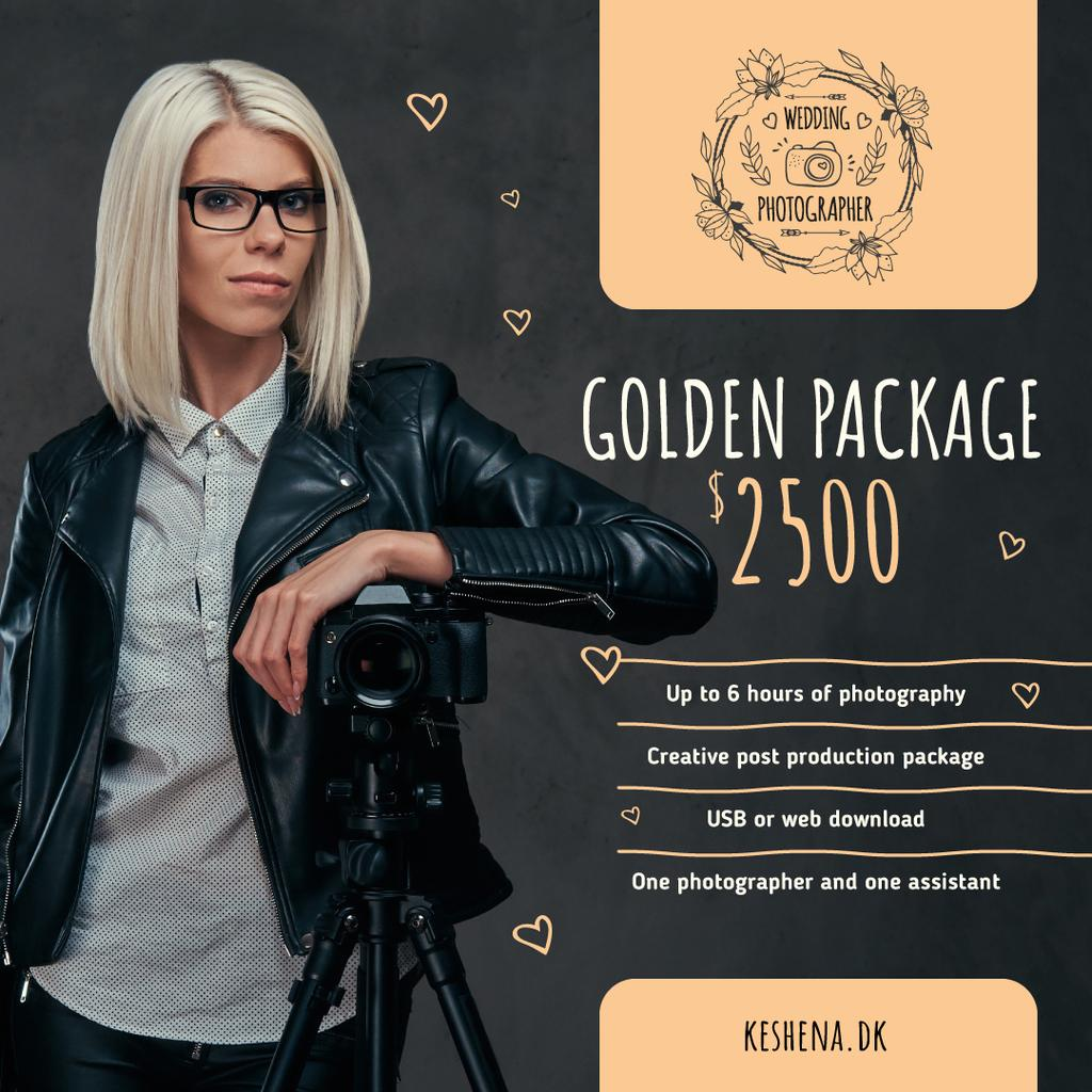 Event Photographer by Camera on Tripod in Black | Instagram Ad Template — Modelo de projeto