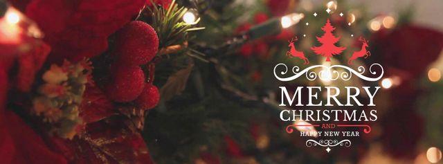Blinking garland on Christmas tree Facebook Video cover – шаблон для дизайну
