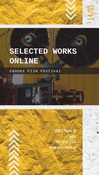 Cannes Film Festival Vintage Projector with Film | Vertical Video Template