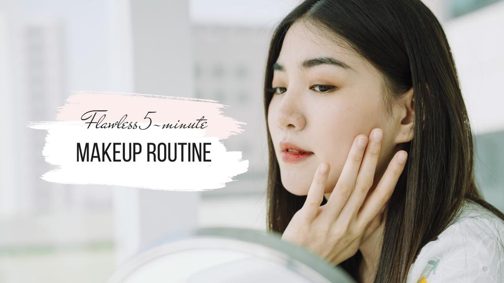 Makeup Routine Tips with young Woman —デザインを作成する