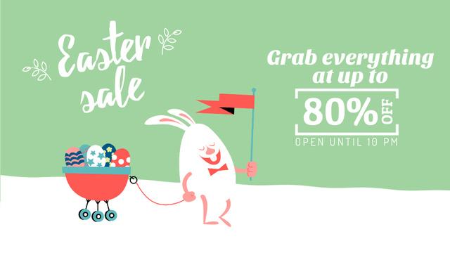 Plantilla de diseño de Easter Promotion Bunny Carrying Colored Eggs Full HD video