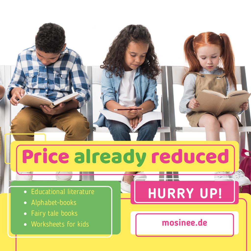 Designvorlage Bookshop Offer Kids Reading für Instagram