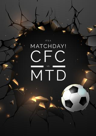 Football Match announcement with Ball Poster Modelo de Design